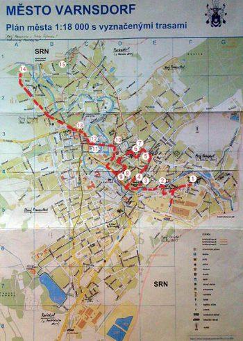 mapa Varnsdosrf-vyznacena trasa