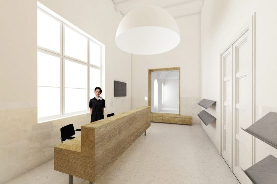 Úprava vstupních prostor budovy FFUK – studie interiéru nového infocentra s vrátnicí